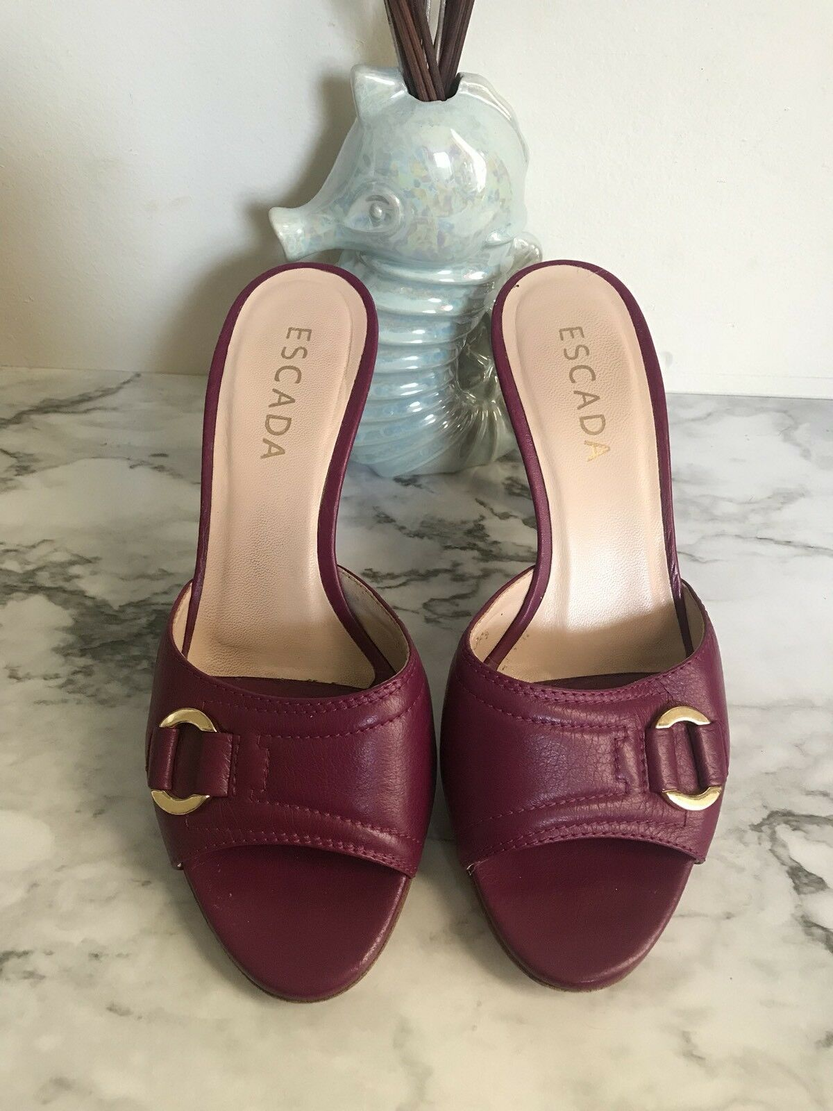 Escada Purple Slip On Leather gold Tone Buckle Sz 6.5 (36 1 2)