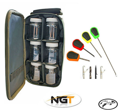 Boilie Glug Storage Pots Wallet /& Baiting needle Set NGT Glug Case 6 Pot Holder