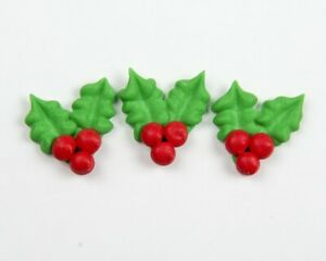 BulkLot-240-Edible-Sugar-Icing-Christmas-HOLLY-Cupcake-Toppers-Decorations-Cakes