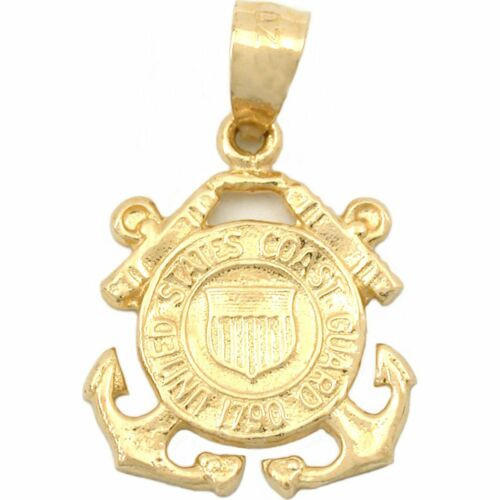 14K Gold US Coast Guard Emblem Charm USCG Military 16mm