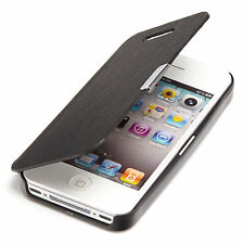 Apple iPhone 4 / 4S Slim Flip Case Cover Tasche Schutz Hülle Etui Schwarz