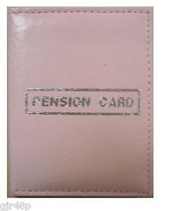 New-Pension-Card-Bus-Pass-ID-Holder-Wallet-Pink-Silver-Text-Faux-Leather-Pension
