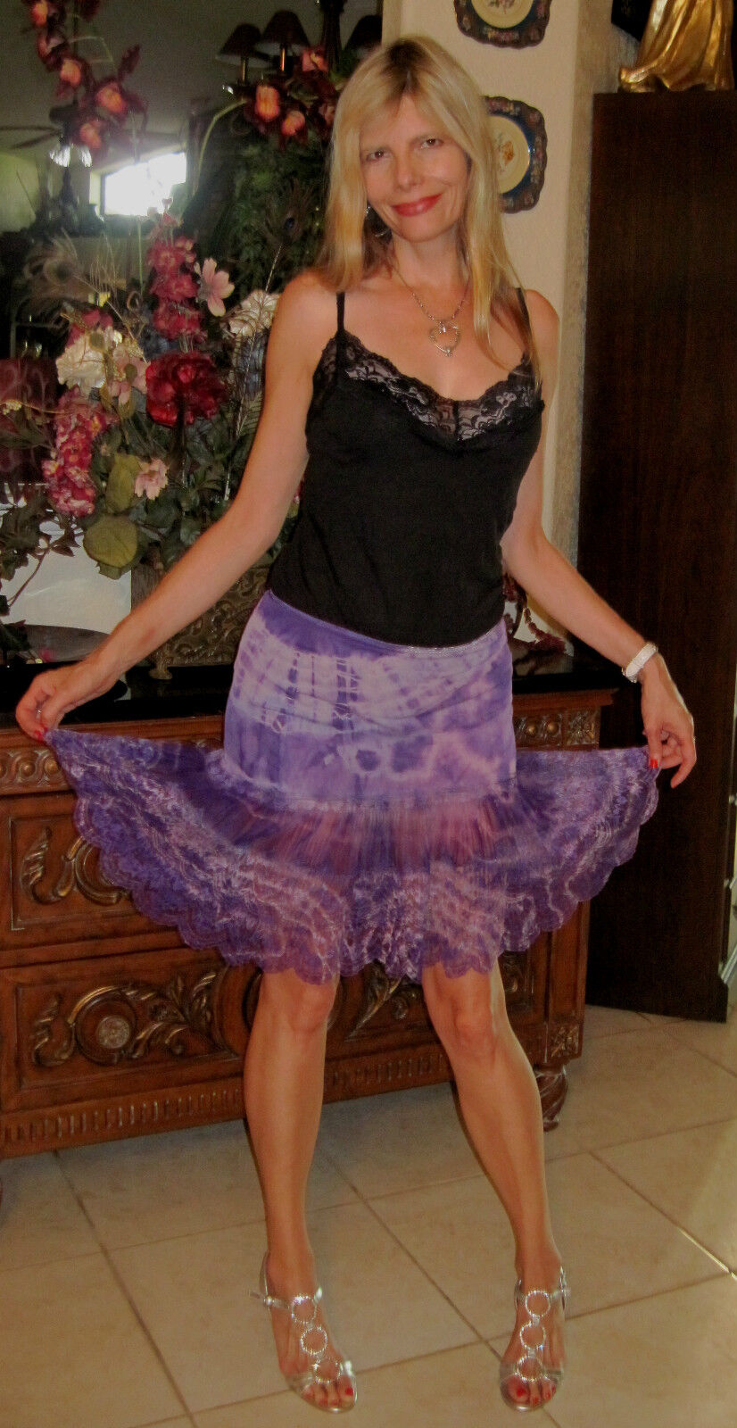 60S VINTAGE Hand Dyed Tie Dyed Frilly Prissy Girl Romantic Lavendar Mini Skirt S