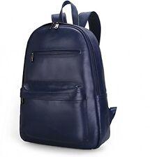 Damero Genuine Leather Backpack Travel Rucksack Daypack School Pack, Dark Blue