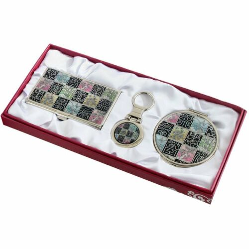 Business card holder ID case Makeup compact mirror keychain ring gift set #90