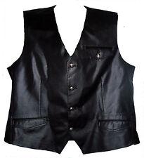 Mondo Men's Black Satin Formal Slim Fit Pocket Fashion V-neck Vest Coat Top 2XL