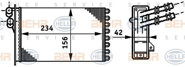 8FH 351 311-021 Hella Intercambiador de Calor Calefacción Interior