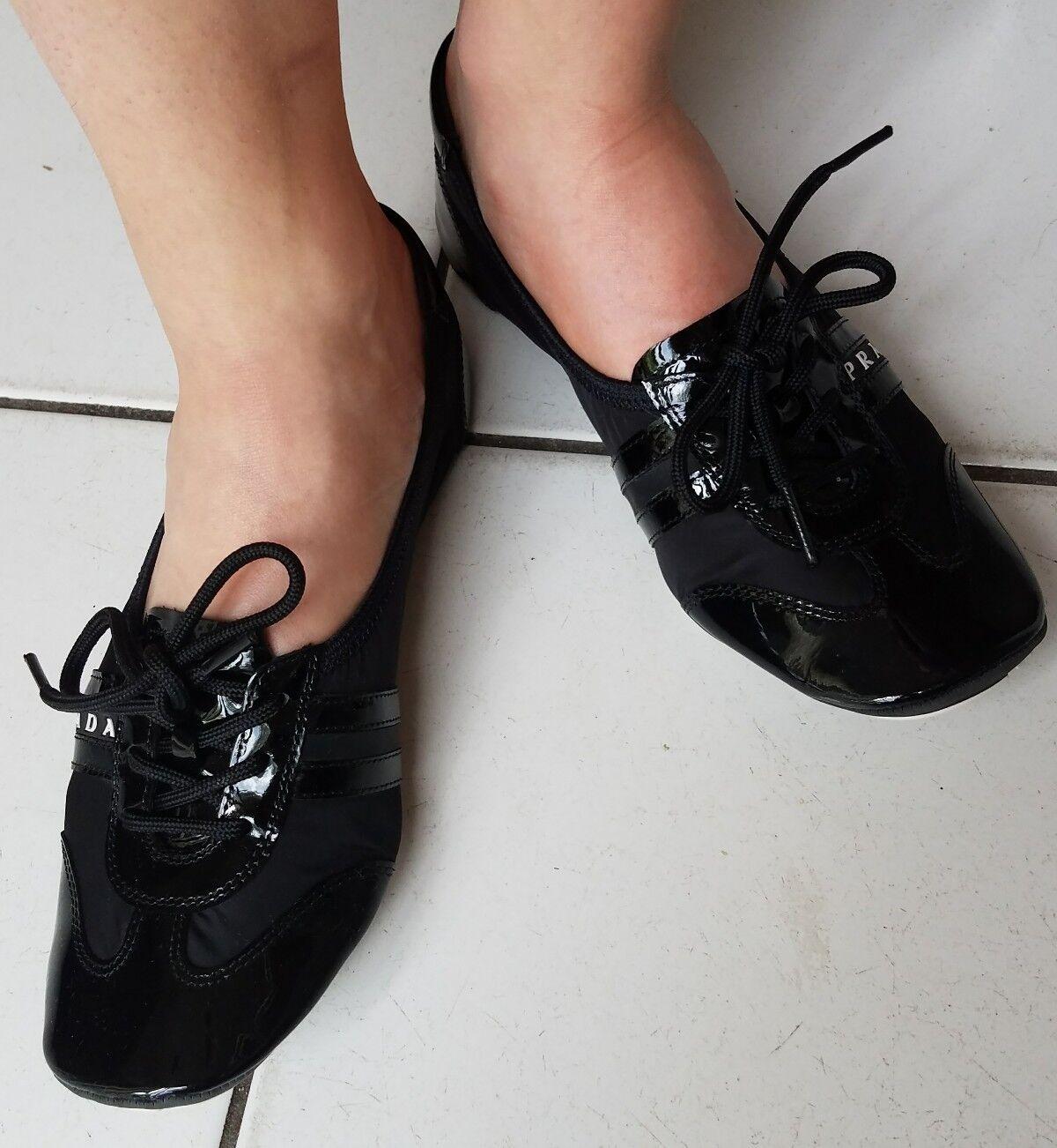 NIB PRADA Black Nylon Patent Flat shoes- Nylon Piuma Lu-W's SZ 35 Retail  280