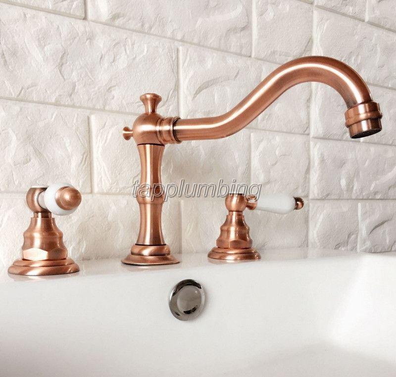 Rosso di rame 3 FORI diffuso bagno rubinetto del bacino lavandino vasca Rubinetti