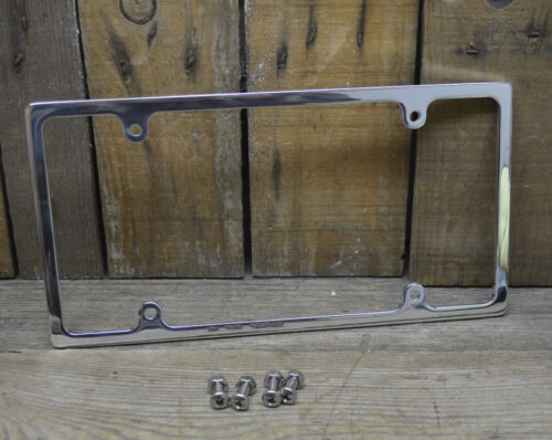 POLISHED ALUMINUM LICENSE PLATE FRAME CHEVY 1956 AND UP CA STREET RAT HOT ROD