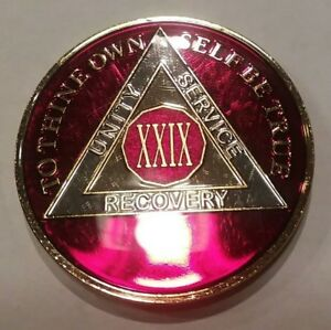 3 Year AA Sobriety Coin Medallion Rich Mandarin Red Enamel Third Year III BSP