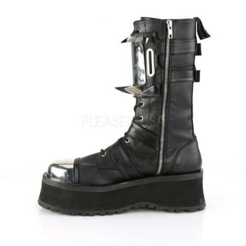Demonia Metal Toe Spiked Punk Goth Alternative Platforms Boots Gravedigger-250