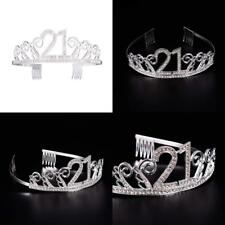 Frcolor 21st Birthday Tiara Crystal Rhinestone Women 21st Birthday Crown with Co