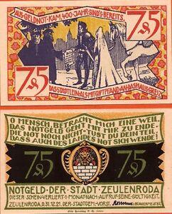 Allemagne-Notgeld-billet-neuf-de-75-pf-ZEULENRODA-1921