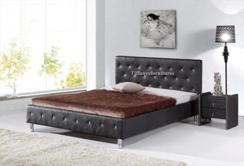 #4008 Gorgeous Modern Queen Size Black PU Leather bed
