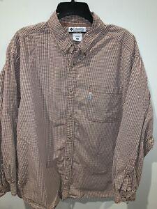 Columbia-Mens-Checks-Long-Sleeve-Button-Down-Shirt-Brown-Cream-Size-XL