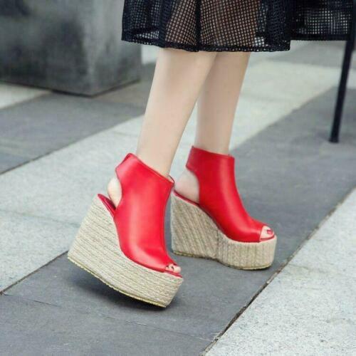 Women Wedge High Heel Platform Sandals Slingback Peep Toe Shoes Summer Beach sz