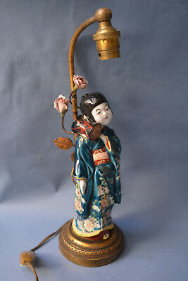 Japanese Porcelain Wonderful Antique 19th,c Geisha Statue Table Lamp At Any Cost
