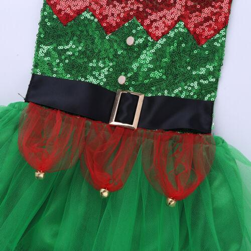 Kids Baby Girls Christmas Elf Costume Halter Tutu Dress Romper Xmas Jumpsuit Set