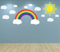 Rainbow Clouds and Sun Wall Art Decal sticker Nursery Bedroom Playroom Baby Room