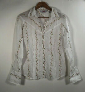 Roper-Women-s-SZ-M-Long-Sleeve-Western-White-Embroidered-Pearl-Snap-Shirt-Rodeo