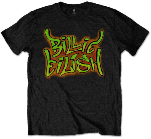 Kids T-Shirt NEW /& OFFICIAL! Black Billie Eilish /'Airbrush Flames/'
