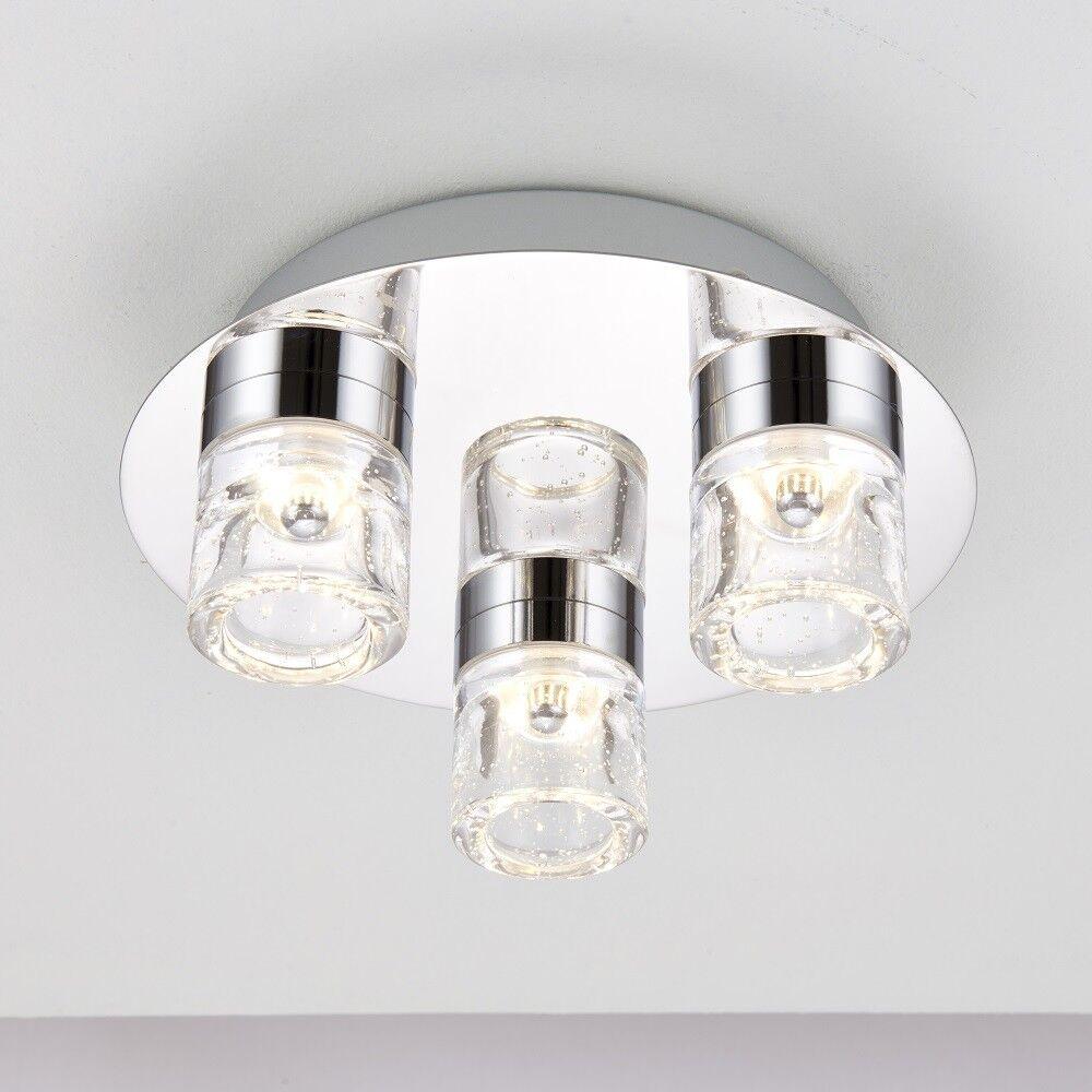 LED FLUSH CEILING LIGHT 4W CHROME BATHROOM - 3 LIGHTS -IP44-3000K-288LM