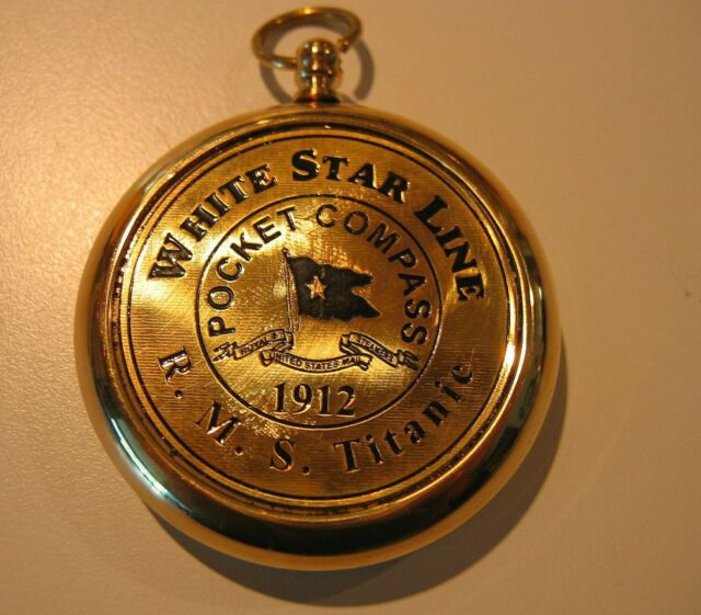 Maritime Brass Pocket Compass Nautical White Star Line R.m.s Titanic 1912 Item Other Maritime Antiques