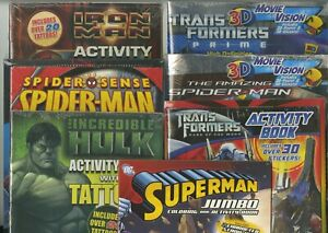 Activity-and-Coloring-books-lot-of-7-2-IRON-MAN-SPIDER-MAN-SUPERMAN-amp-MORE