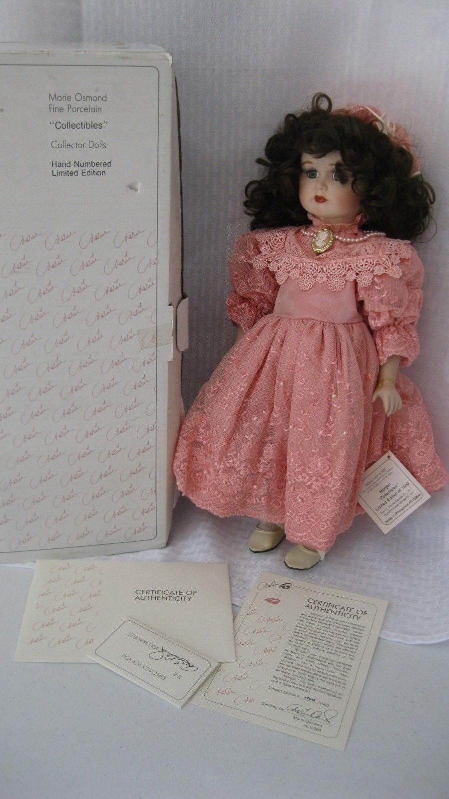 Marie Osmond Porcelana Fina Morgan Muñeca 17  Coleccionables Serie rosado Usado Con Caja