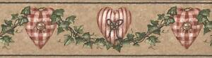 Wallpaper-Border-Red-White-Checked-amp-Striped-Hearts-Ivy-Garland-Buttons-on-Tan