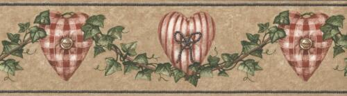 Wallpaper Border Red White Checked /& Striped Hearts Ivy Garland Buttons on Tan