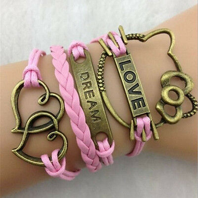 NEW Hot Infinity Love Anchor Leather Cute Charm Bracelet Bronze DIY SL110