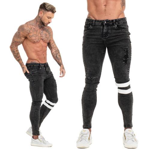 GINGTTO Men Skinny Denim Jean Ripped Slim Fit Stretch Distressed Biker Blue Pant