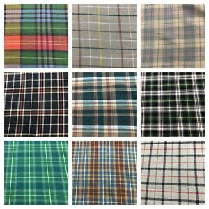 Tartan-Check-100-Cotton-Fabric-120-GSM-150CM-Shirt-Jacket-Pocket-Lining