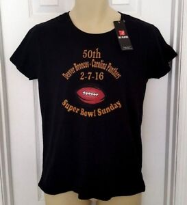 DENVER BRONCOS Womens T Shirt Size Medium Super Bowl 50 Carolina ... 8360feedc