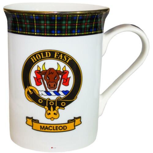 China Tea Mug MacLeod Green Hunting Clan Crest Bone Gold Rim Made in Scotland
