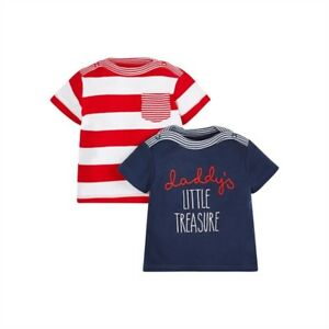caa725a0f MOTHERCARE BABY BOYS DADDYS LITTLE TREASURE 2 PACK T-SHIRT RED + ...