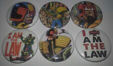 6 Judge Dredd button badges 25mm 2000 AD I am The Law