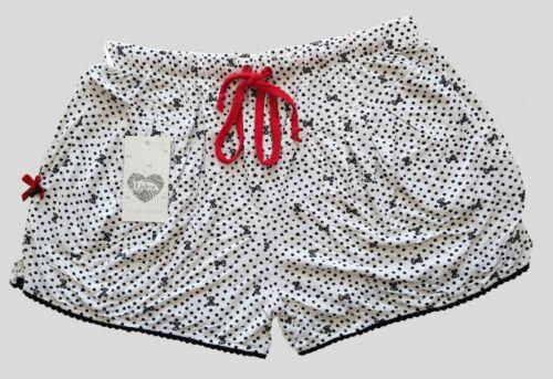 Lidea Damen Nachtwäsche Shorts Schwarz Weiß Gr S,M,L