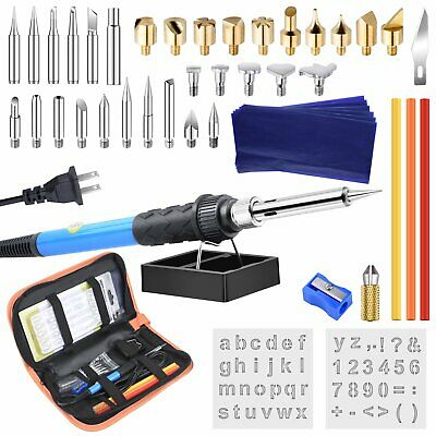 60PC 60W Wood Burning Pen Set Tips Stencil Soldering Tools Pyrography Crafts Kit