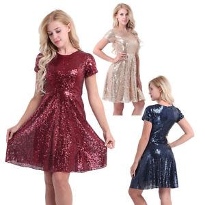 Damen Festlich Kleider A Linie Partykleid Glitzer Pailletten Kleid Abendkleider Ebay