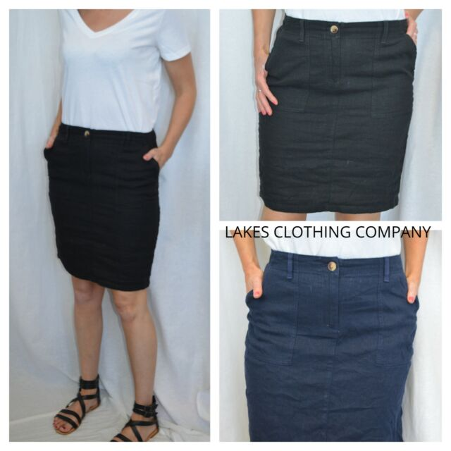 NEXT LINEN SKIRT LADIES BLACK NAVY LINEN BLEND SKIRT SUMMER HOLIDAY POCKETS 8-18
