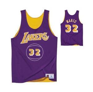 78516049ac7 Los Angeles Lakers Mens Mitchell   Ness Magic Johnson  32 Reversible ...