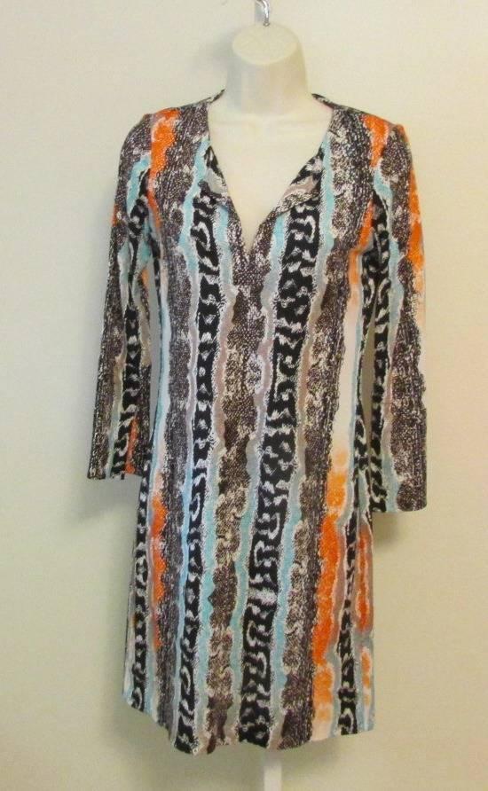 Diane von Furstenberg New Reina Two Oasis Snake Multi Tunic dress 0 Orange DVF