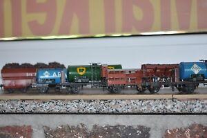 Spur-HO-Trix-Express-6-x-ancestral-vagones-3-rail-dc-very-good-ship-8-90-e