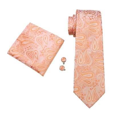 Jss Da Uomo Premium Pesca Arancione Paisley 100% Seta Cravatta, Fazzoletto & Gemello Set-mostra Il Titolo Originale
