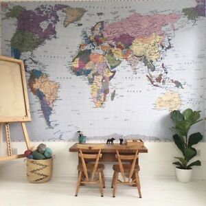 Komar colorful world map wall mural wallpaper blue purple pink image is loading komar colorful world map wall mural wallpaper blue gumiabroncs Gallery