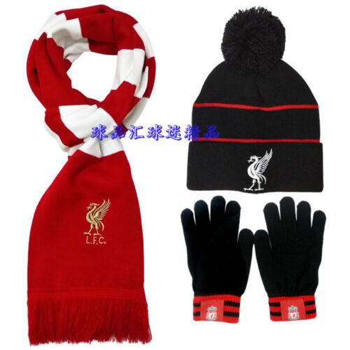 Liverpool football team scarf hat gloves three-piece warm set