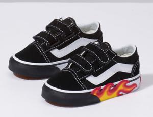 ef321931d803a4 Vans Toddlers Old Skool V (Flame Cut Out) Black  True White All ...